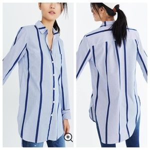 Madewell Striped Button-Down Tunic Shirt